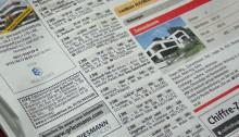 Wohnungsanzeigen in der Zeitung